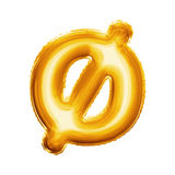 Montez en ballon l'alphabet réaliste de l'aluminium 3D d'or minuscule de la lettre O Image libre de droits