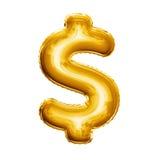 Montez en ballon l'aluminium d'or du symbole monétaire du dollar 3D réaliste Photographie stock libre de droits
