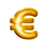 Montez en ballon l'euro aluminium d'or du symbole monétaire 3D réaliste Image stock