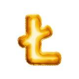 Montez en ballon la lettre L avec l'alphabet réaliste d'aluminium d'or de la course 3D Image libre de droits