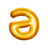 Montez en ballon la lettre un schwa avec l'alphabet réaliste d'aluminium d'or de la course 3D Images libres de droits