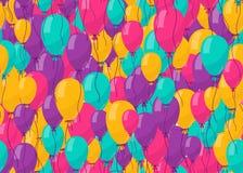 Montez en ballon le fond sans couture pour le concept de modèle de fête d'anniversaire d'anniversaire de couleur Image stock