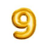 Montez en ballon le numéro 9 alphabet réaliste de l'aluminium neuf 3D d'or Images stock