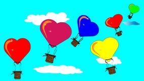 Montez en ballon sous forme de coeur, vols de ballon le jour du ` s de Valentine Image libre de droits