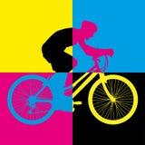 Vecteur d'art de couleur de bicyclette d'équitation de vélo de tour Images stock