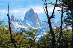 Montez le fitz Roy en EL Chalten, parc national de visibilité directe Glaciares dans Arg image stock