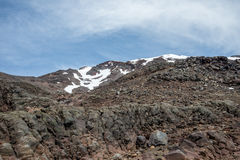 Montez Ruapehu avec un paysage de chapeau couvert par neige en été, parc national de Tongariro Image libre de droits