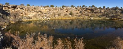 Montezuma Well Natural Sinkhole Panoramic Landscape Arizona USA stock photo