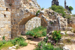 Montfort Castle ruins. In northern Israel. Arched passageway through the halls Stock Photos