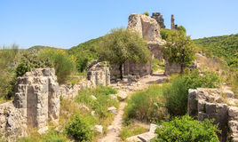 Montfort Castle ruins. In northern Israel. Arched passageway through the halls Royalty Free Stock Photos