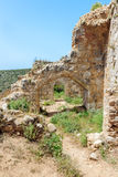 Montfort Castle ruins. In northern Israel. Arched passageways through the halls Stock Photo