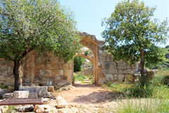 Montfort Castle ruins. In northern Israel. Arched passageways through the halls Stock Photos