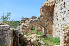Montfort Castle ruins. In northern Israel. Arched passageways through the halls Stock Image