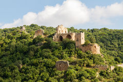 Montfort (Shtarkenberg) is a ruined crusader castle . Israel. stock photos