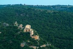 Montfort (Shtarkenberg) is a ruined crusader castle . Israel. Royalty Free Stock Photo