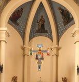 Montfort-sur-Meu, France, September 9, 2016: Cross in Church in Stock Photo