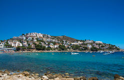 Montgo beach and hills on the Costa Brava in summertime Stock Photo