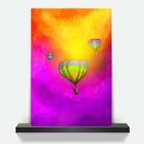 Montgolfières de conception merveilleuse de brochure dans l'eau pourpre nuageuse de /Vector/ de ciel peinte Photos stock