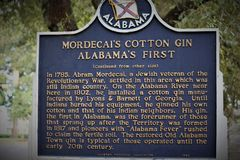 Montgomery, AL / United States - April 15 2019: A sign for Mordecai`s cotton gin marks a piece of history in Montgomery stock photo