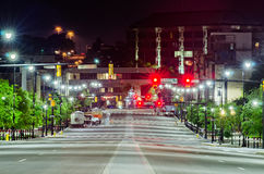 Montgomery alabam downtown at night time stock image