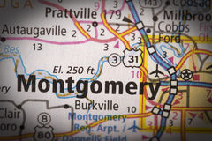 Montgomery, Alabama on map Stock Images