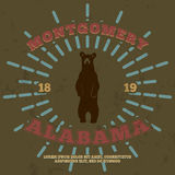 Montgomery, Alabama. t-shirt graphic. Vector Royalty Free Stock Photography