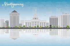 Montgomery Skyline con Grey Building, el cielo azul y reflexiones Fotografía de archivo