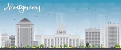 Montgomery Skyline con Grey Building y el cielo azul Foto de archivo libre de regalías