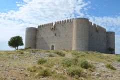 Montgri castle. On a hot summers day Stock Images