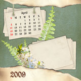The month of April. Page of calendar in scrapbooking style Royalty Free Stock Images