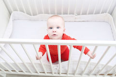 6 month baby girl trying to get up in white bed Stock Photo