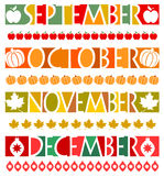 Month Banners and Borders/eps. Illustrations of banners and matching borders for the months September, October, November and December Royalty Free Stock Images