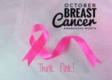 Month Breast Cancer Awareness Ribbon in October. Pink ribbon symbolic of Breast Cancer Awareness Month.The Campaign aims to shift public focus from awareness stock image