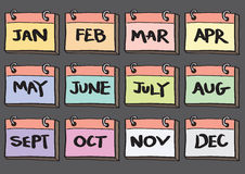 12-Month Calendar Cartoon Vector Icon Set Stock Photos