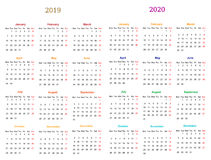 12 month Calendar Design 2019-20120. Calendar Design 2019-2020 vector file editable and printable Royalty Free Illustration