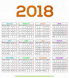 12 month Calendar Design 2018. Calendar Design 2018 vector file editable and printable Royalty Free Illustration