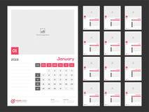 Year 2019, Calendar Design. 12 month calendar design for 2019 year royalty free illustration
