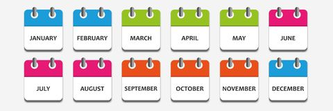 Month calendar icon set. Vector illustration EPS10 vector illustration