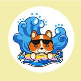 Happy dog in summer vacation. Cute happy dog in summer sun, wave vacation. Vector illustration cartoon style Royalty Free Stock Photos