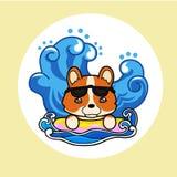 Happy dog in summer vacation. Cute happy dog in summer sun, wave vacation. Vector illustration cartoon style Stock Illustration