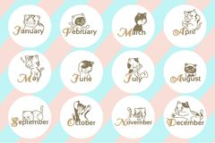 12 month with cartoon cat. For calendar and graghic work vector illustration royalty free illustration