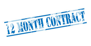 12 month contract blue stamp. On white background Royalty Free Stock Photos