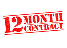 12 MONTH CONTRACT. Red Rubber Stamp over a white background stock illustration