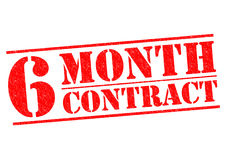 6 MONTH CONTRACT. Red Rubber Stamp over a white background royalty free illustration