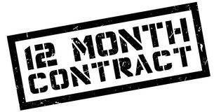 12 month contract rubber stamp. On white. Print, impress, overprint Royalty Free Stock Images