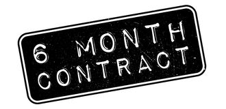 6 month contract rubber stamp. On white. Print, impress, overprint stock illustration