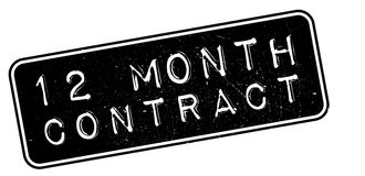 12 month contract rubber stamp. On white. Print, impress, overprint Royalty Free Stock Photography