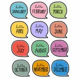 12 month cute handwriting in colorful word bubble cartoon vector illustration. On white background stock illustration