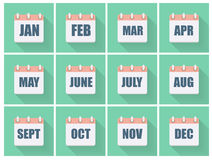 Month Dates Flat Icon Set with Long Shadow. Vector Illustration Stock Images