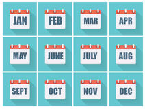 Month Dates Flat Icon Set with Long Shadow. Vector Illustration Stock Image